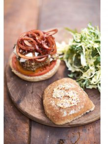 Jamie Oliver's Italian Super-Food Burgers, Balsamic Onions, Mozzarella and Slaw