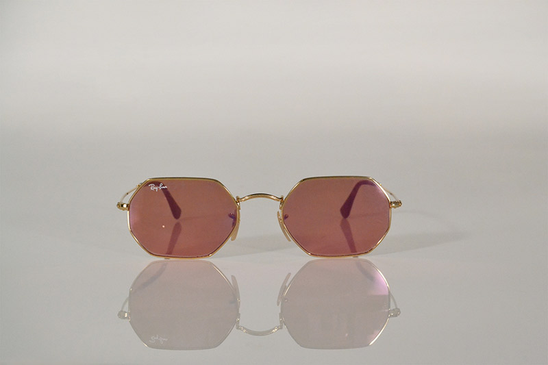 Sunglasses: Gold geometric with metallic pink lenses, R2 290, Ray Ban at Sunglass Hut