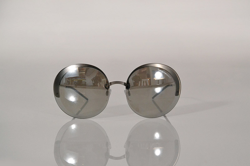 Sunglasses: Rounded metallic silver lenses, R2 090, Emporio Armani at Sunglass Hut