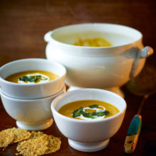 Roasted Pumpkin And Sweet Potato Soup With Parmesan Crisps Recipe