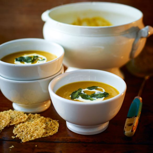 Roasted Pumpkin And Sweet Potato Soup With Parmesan Crisps Recipe
