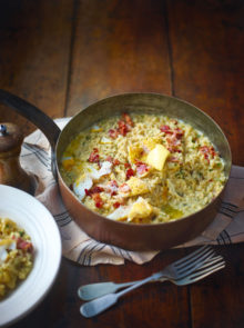 Smoked haddock and bacon risotto recipe