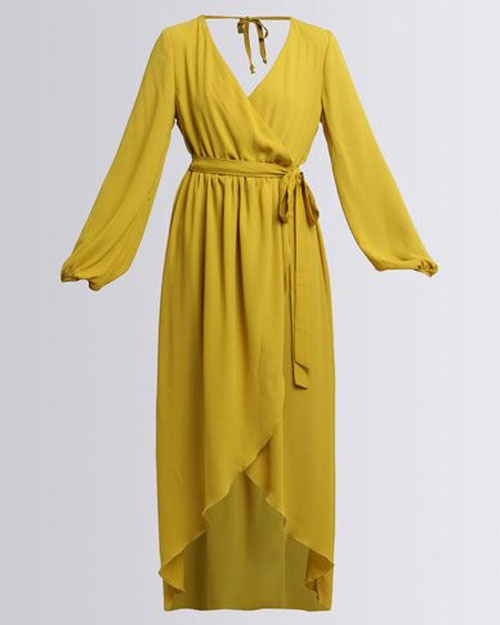 wrap dresses online mustard long-sleeve