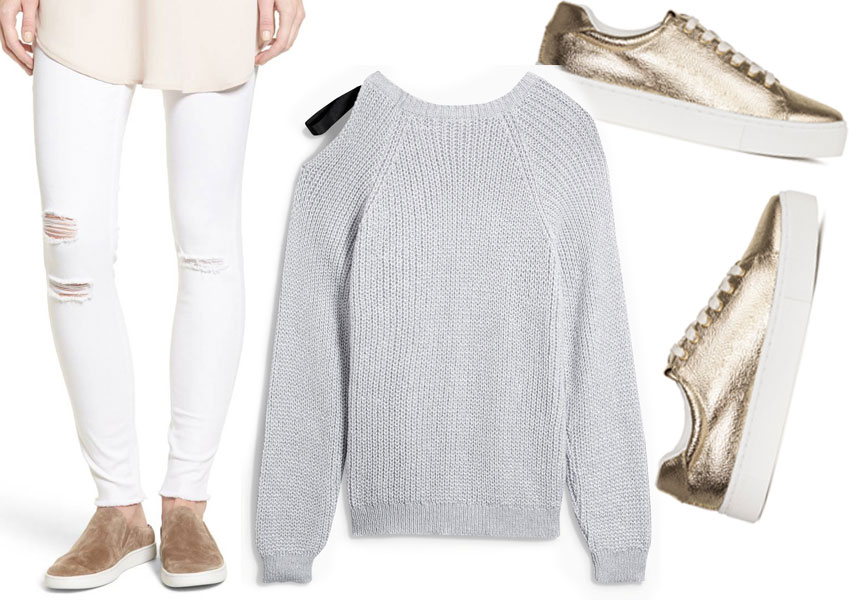 what to wear with white jeans - chunky grey knit