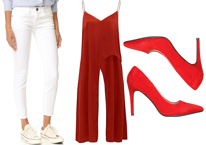 what to wear with white jeans - red