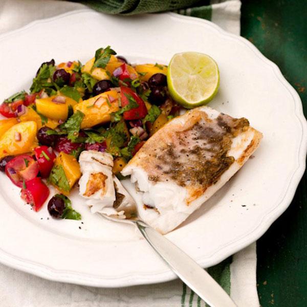 White Fish with Mango, Olive and Tomato Salsa Recipe