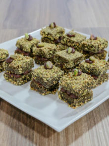 Bianca's Matcha, Dark Chocolate Lamingtons With Pistachio Crumbs