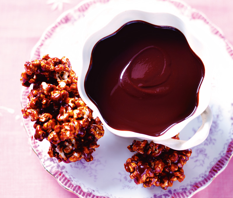 The Best Chocolate Dipping Sauce With Caramel Popcorn Clusters