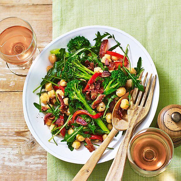 Chickpea Salad With Broccoli, Rocket And Crispy Bacon Recipe