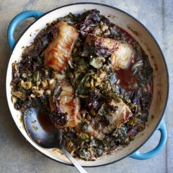 Slow-Braised Pork Belly with Wilted Greens, Olives and Capers Recipe