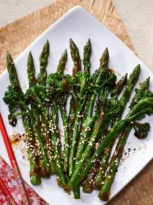 Griddled Asparagus & Broccolini With Sweet Thick Soy Glaze