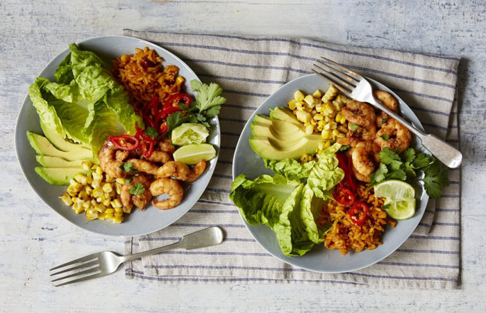 Healthy Mexican Burrito Bowl with Spicy Prawns Recipe