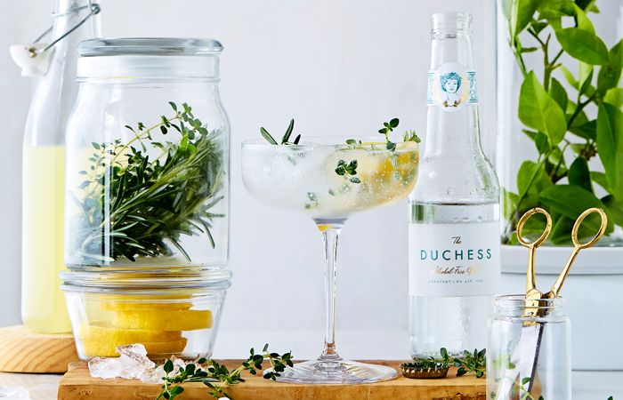 Non-alcoholic Garden Cocktail Recipe with Rosemary and Thyme