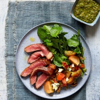 Steak and Blue Cheese Salad with a Walnut Pesto Dressing Recipe
