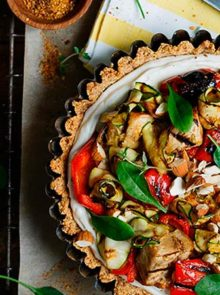 gluten-free-almond-tart-with-whipped-ricotta-and-grilled-vegetables