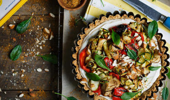 Gluten-free almond tart with whipped ricotta and grilled vegetables