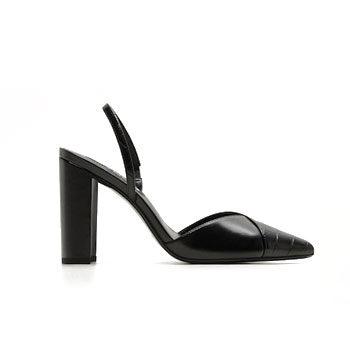 black pointy work wear block heel