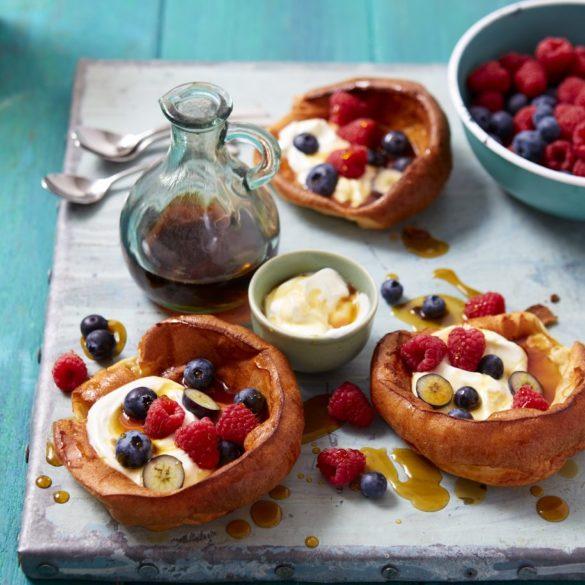 Mini Dutch pancakes with fresh berries recipe