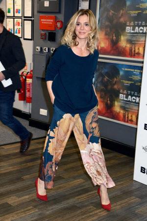 Emilia Fox in Printed wide-leg trousers