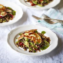 Lentil Salad With Halloumi, Avocado And Roasted Peppers Recipe
