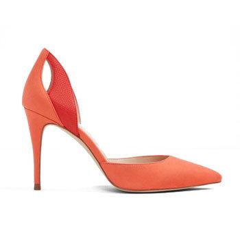 living coral stiletto heel