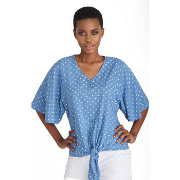 budget polka dot flared sleeve blouse
