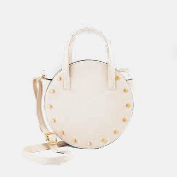 round studded work handbag