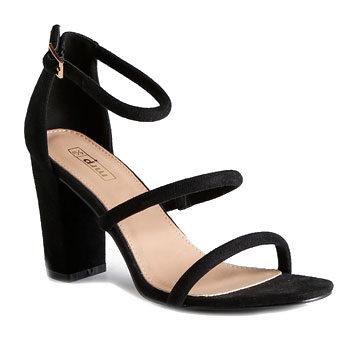 black strappy work wear block heel