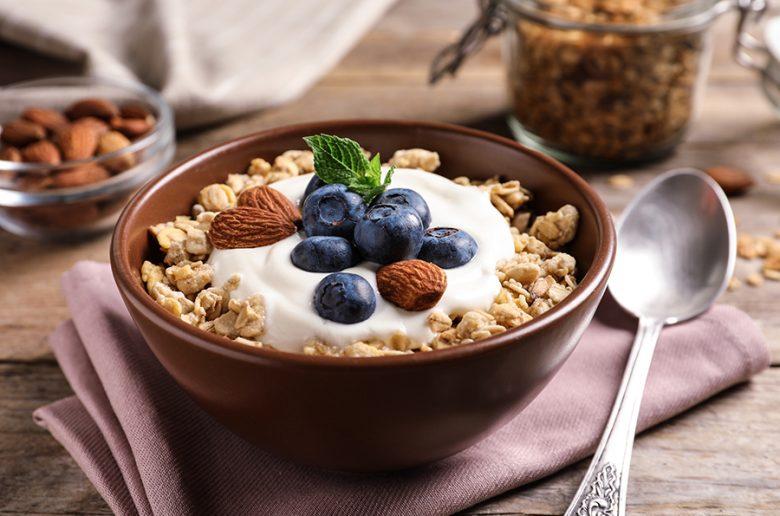 Bowl of muesli with berries and yoghurt