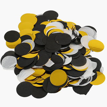 black, gold and white confetti