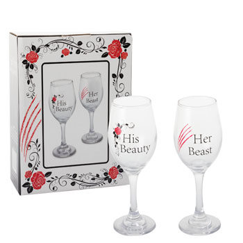 Valentine's day wine glasses gift