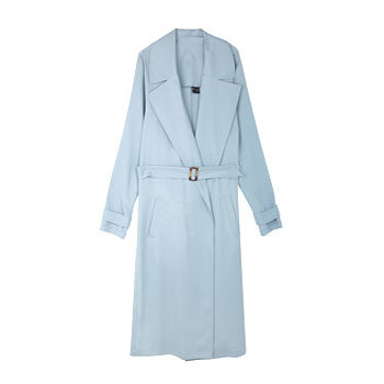 baby blue trench coat seen at new york fashion week