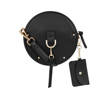 round gold and black handbag inspired by new york fashion week