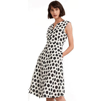 monochrome polka dot dress