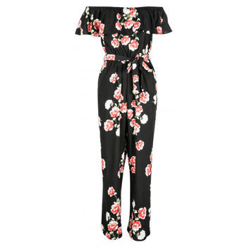 flattering off-shoulder jumpsuit