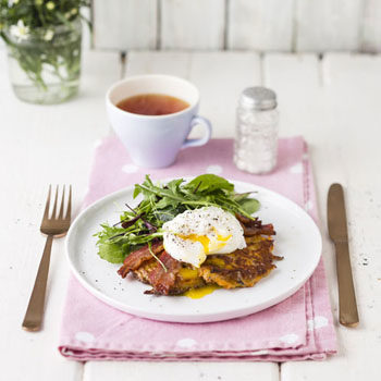 poached eggs on sweet potato rosti