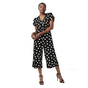 flattering polka dot jumpsuit