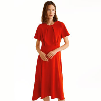 red sleeved detail dress inspired by new york fashion week