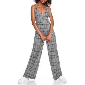 flattering check jumpsuit