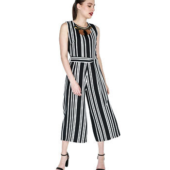 flattering stripe culotte jumpsuit