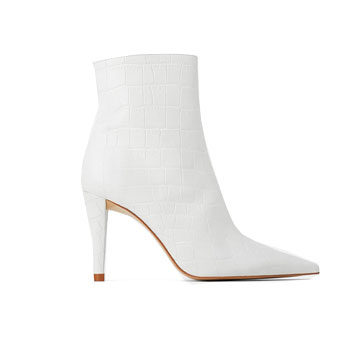 stiletto ankle white boot inspired by new york fashion week