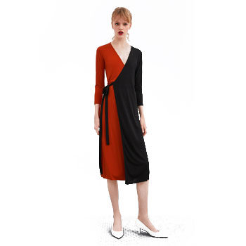 colour block wrap dress