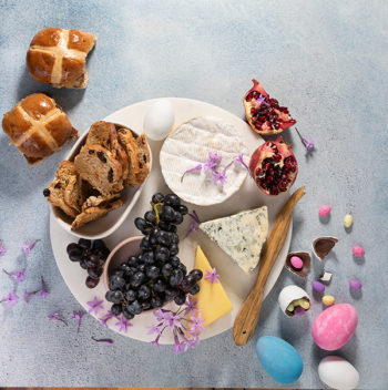 Cheese board with Hot Cross bun melba toast