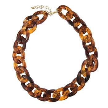 chunky link tortoiseshell necklace