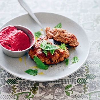 lamb burger with beetroot hummus