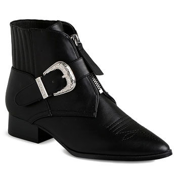 buckle detail block heel boots