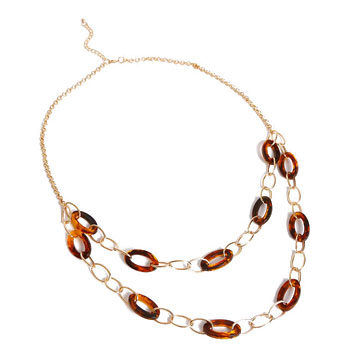 mixed tortoiseshell link necklace