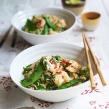 Prawn and Sugar Snap Stir Fry with Fried Rice Recipe