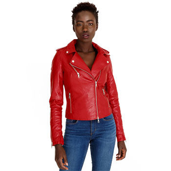 transitional red leather jacket