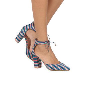 retro stripe print trend block heels